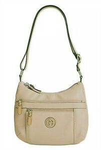"""New Giani Bernini Oatmeal Beige Faux Leather Strap Zip Hobo Bag 12"""" W 9"""" H 3"""" D"""