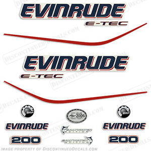 Evinrude 200hp E-Tec Outboard Decal Kit - 2004 2005 2006 2007 2008 Stickers