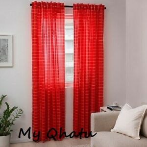 """IKEA ROSALILL Curtains Red/ White 57 x 98 """"  1 Pair (2 Panels) Checker  NEW"""