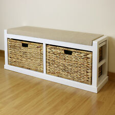 White Twin Seat Hallway/Home Shoe Storage Bench Foam & Wicker Cushion/2 Baskets