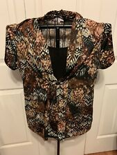 Women's Clothing Notations Brown Floral Pullover Blouse Shirt Top Size XL