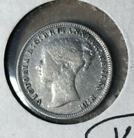 1875 Great Britain 3 Pence Queen Victoria Silver Coin VF Condition