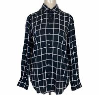 Trenery Womens Black/White Check Long Sleeve Button Up Blouse Size XXS