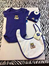 3 Pc Lsu Tigers Newborn Baby Bundle Hat, Bib & Sleeper 0 - 3 months m