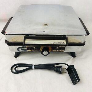 Vintage Broil King Reversible Waffle Maker Waffler Grill Adjustable Tested Works