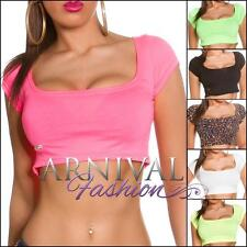 Polyester Short Sleeve Regular Size Crop Tops for Women