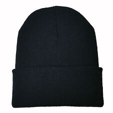 Top Quality Solid Black Knit  Beanie Ski Cap Skull Hat Warm Outdoor FashionSolid