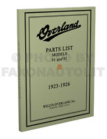 Overland 91 and 92 Parts Book 1923 1924 1925 1926 Willys Illustrated Catalog