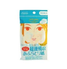KOSE Softymo SUPER QUICK OIL OFF SHEET Oil Blotting Paper 150 Sheets