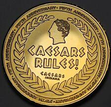 Césars Palace Indiana Plaqué Or 5th Anniversaire 38.5mm Gem UNC Médaillon ~