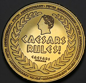 Caesars Palace Indiana Gold Plated 5th Anniv 38.5mm Gem Unc Medallion~RULES F/S
