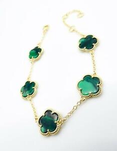 NEW 18kt Gold Plated 5 Piece Green Malachite Clover Thin Chain Links Bracelet