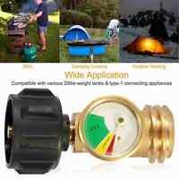 Propane Adapter Tank Gas Grill BBQ RV Pressure Meter Indicator Fuel Brass Gauge