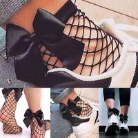 Fashion Women Ruffle Fishnet Ankle High Socks Bow Mesh Lace Fish Net Socks Top