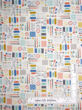 Sewing Notion Toss Cream Cotton Fabric Makower Handmade Collection - By The Yard