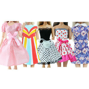 5 Sets Mini Dress Sundress Ball Gown Clothes for 11.5 inch Girl Doll Accessories