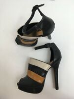 WOMENS FOREVER 21 BLACK BROWN FAUX LEATHER ANKLE STRAP HIGH PLATFORM SHOES UK 4