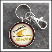 Vintage SkiDoo Bombardier Snowmobile Shoulder Patch Photo Keychain