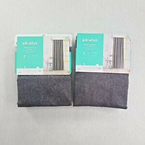 """Pillowfort Blackout Curtains Two Panels Solid Chambray Gray Textured 42"""" X 84"""""""