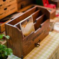 Wooden Letter Photos Rack Drawer Shabby Chic Vintage Tray Desk Organiser Tidy