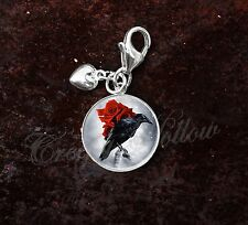 925 Sterling Silver Charm Black Crow Raven Red Rose Bird Goth Emo
