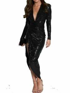 JOHN ZACK  BLACK SEQUIN   PLUNGE V NECK WRAP OVER  DRESS