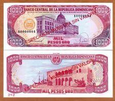 Specimen, Dominican Republic, 1000 Pesos Oro, 1988, P-130s1, UNC