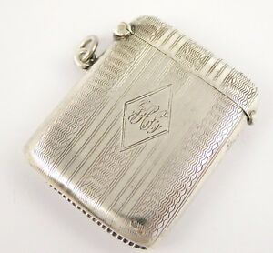 Antique Art Deco 1925 Sterling Silver Vesta Monogrammed JHL? LAYBY AVAIL