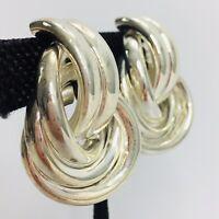 Vintage 80s Doorknocker Earrings Tubular Knot Gold Tone Statement Clip On
