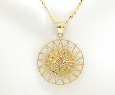 """14K Solid Yellow Gold Circle Pendant w/ Twisted Wire Italian Made 1.25"""" 3.5gr"""