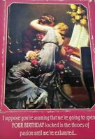 Sweetheart Love Greeting Card Piano Kiss Passion Flowers Retro Victorian Unused