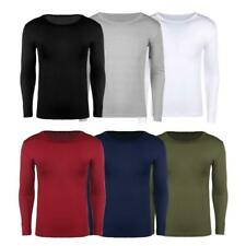 Simple Casual Men Solid Color O Collar Long Sleeve Slim Fit Muscle T-Shirts