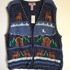 Ugly Christmas Sweater Vest Size L Reindeer Zip Up Star Blue Originals Studio