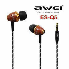 AWEI ES-Q5 Super Bass Holz In-Ear Headphones Earphones Holzton rotbraun