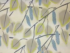 CLARKE & CLARKE CANNES MINERAL FLORAL RETRO TREES LEAF COTTON CURTAIN FABRIC