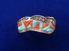 Calvin Begay  Cuff Silver,  Turquoise & Spiny Oyster Navajo  Handmade