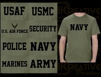 US Army Navy Air Force USAF Marines USMC MILITARY PHYSICAL TRAINING TSHIRT