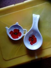 red poppy spoon rest and tea bag rest never used