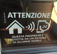 4 MOBILE allarme monitorato adesivi finestra ATTENZIONE connessione telefono