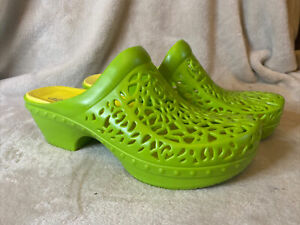 DANSKO PIPPA Clogs Slip-on Lime Green Yellow Plastic Sz 40