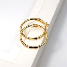 Women Charm Earrings 18k Yellow Gold Filled 30MM Ring Hoop Huggie Wedding Gift