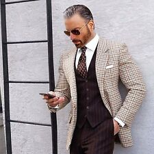 Men Brown Check Jacket Blazer Coat Elegant Luxury Stylish Designer Party Wear