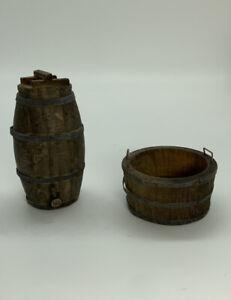 Dollhouse Miniature Artisan set of 1 Aged Oak Barrel & Whiskey Barrel