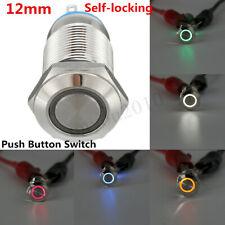 Chrome 4 Pin 12mm Led Light Metal Push Button Latching Switch Waterproof