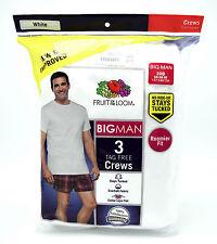 3 White Big Man 3XB 54-56 Inch Crew Neck T-Shirts Fruit Of The Loom 137-142 CM
