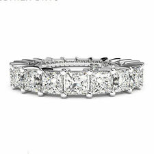 1.80Ct Natural Diamond Wedding Ring 14K White Gold Eternity Band Size P N M O J