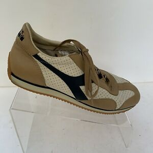 Diadora Leather Fashion Walking Lace Up Sneaker tan Blue Men Sz 9 (UK8.5, EU42)