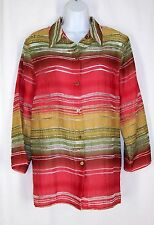 Alfred Dunner Striped Burnout Button Down Top 14 XL Red Yellow Green