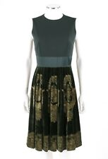 ETRO Green & Gold Silk Velvet Sleeveless Pleated Cocktail Evening Dress Size 44