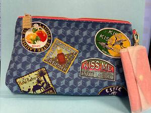 Estee lauder blue canvas bag kiss me 1946 with small coin bag